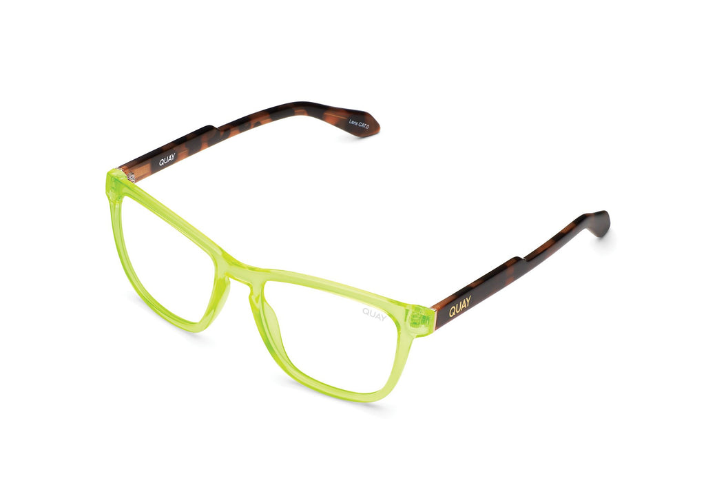 NEON YELLOW TORTOISE TEMPLE/CLEAR