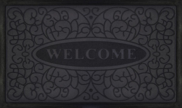 WELCOMEMAT SWIRL 18X30 GRY P12