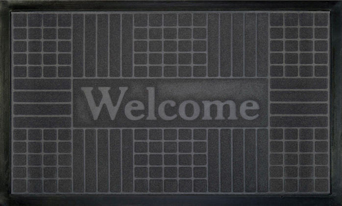 WELCOMEMAT GEMTRC18X30 GRY P12