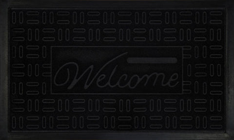 WELCOMEMAT PARQT 18X30 BLK P12