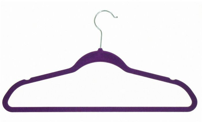 VELVET HANGERS PURPLE 10PCS EA