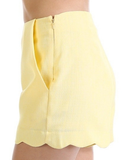 Yellow Scalloped Shorts