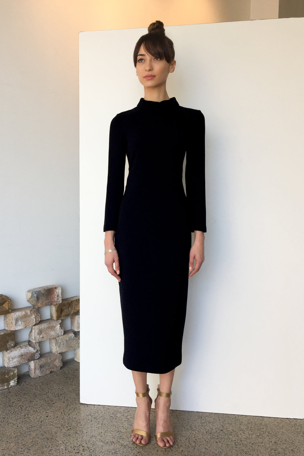 Berlin Wool Crepe Midi Dress Black | CARL KAPP
