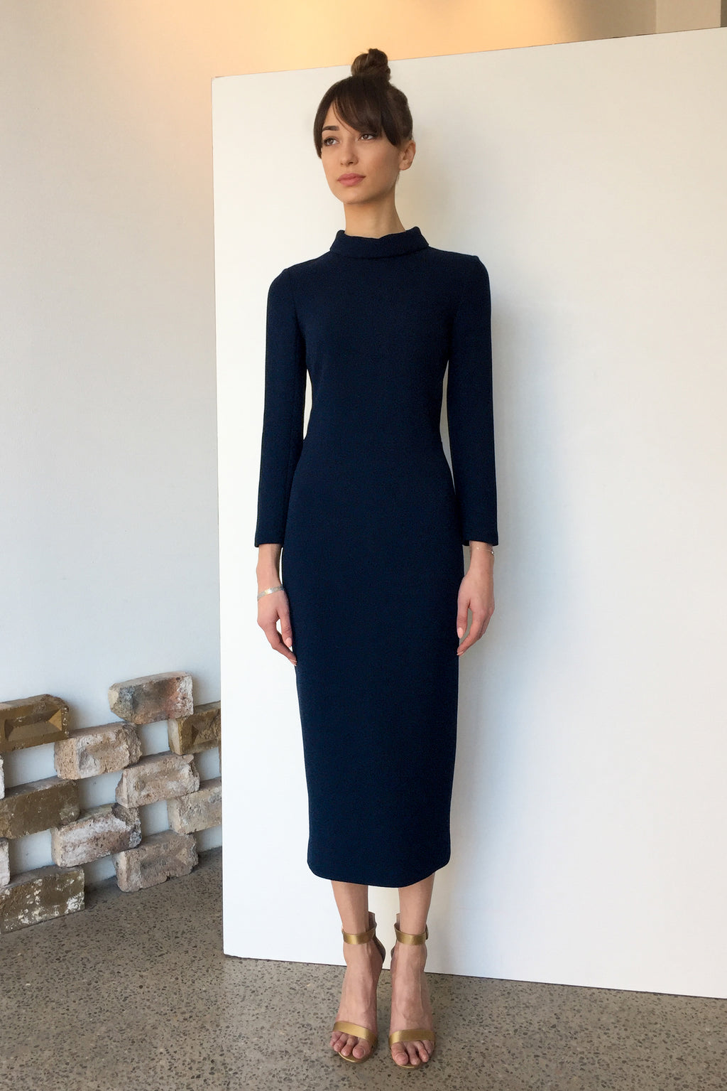 Berlin Wool Crepe Midi Dress Dark Navy | CARL KAPP