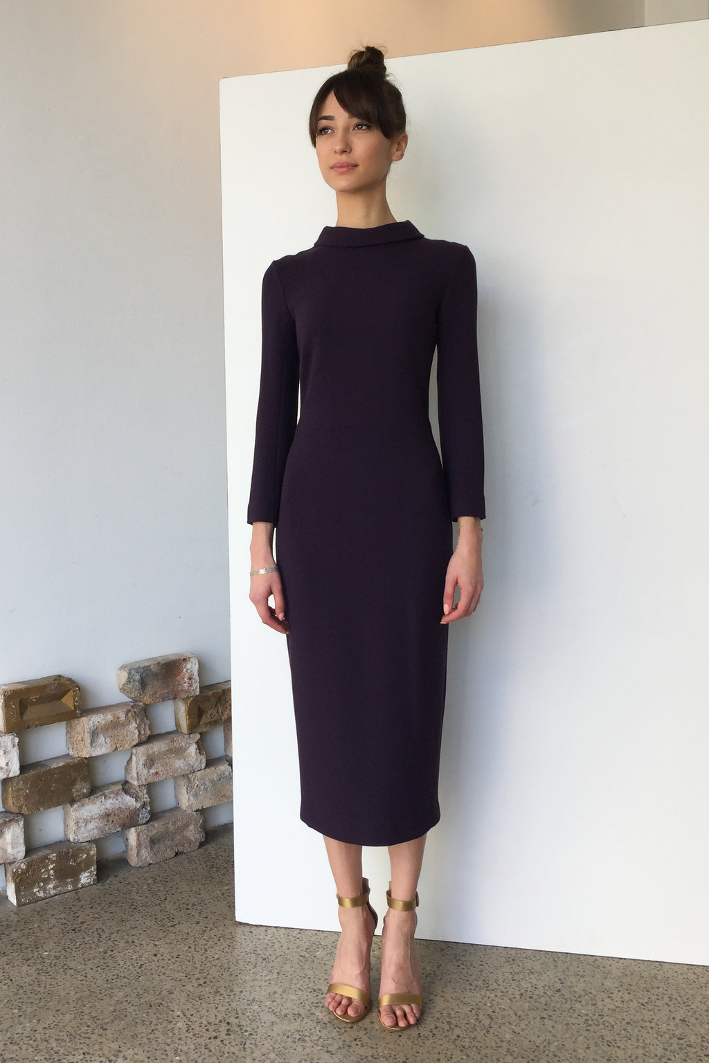 Berlin Wool Crepe Midi Dress Plum | CARL KAPP