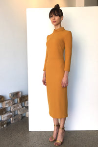 Berlin Wool Crepe Midi Dress Saffron | CARL KAPP