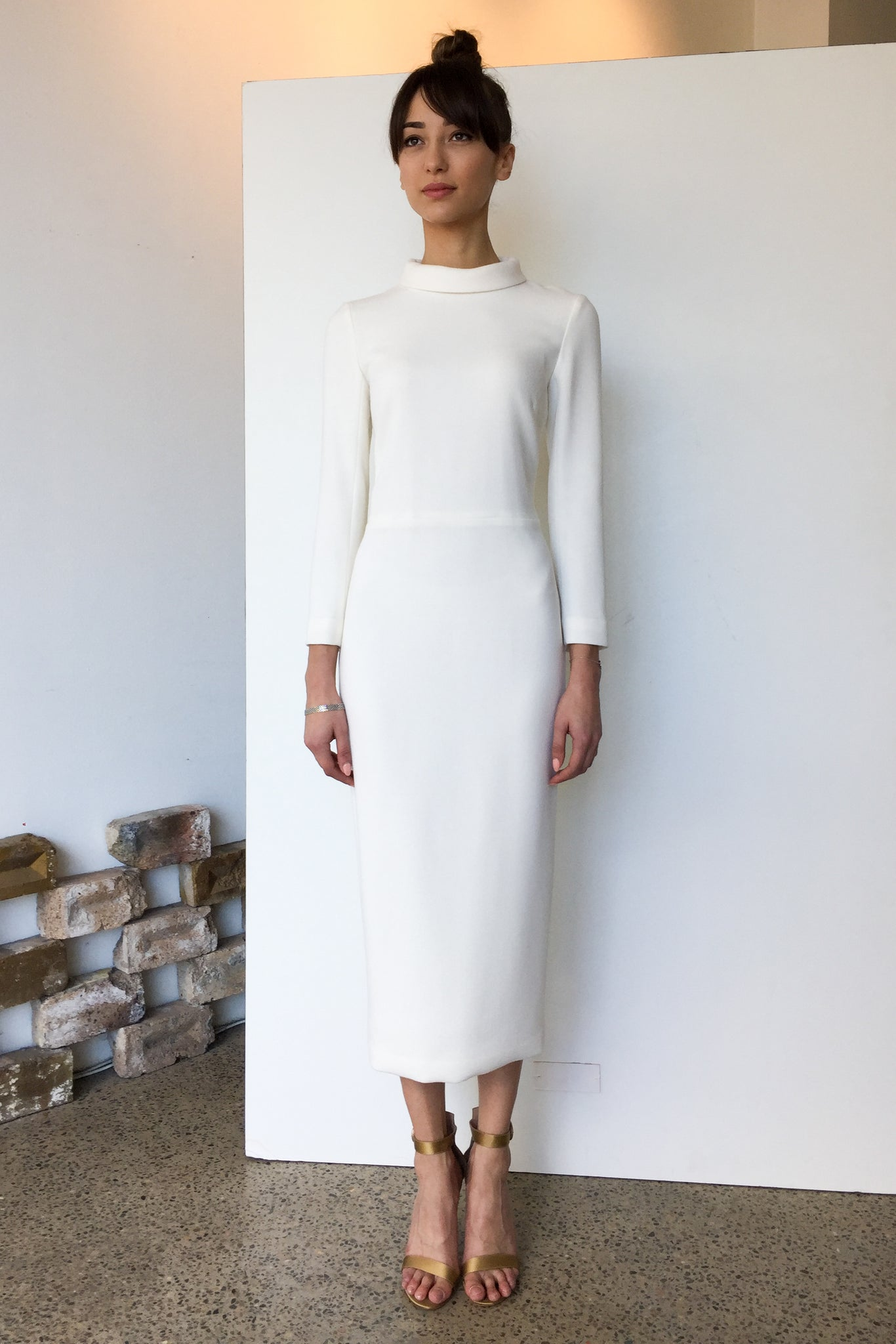 Berlin Wool Crepe Midi Dress White | CARL KAPP