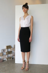 Classic Wool Crepe Pencil Skirt | CARL KAPP