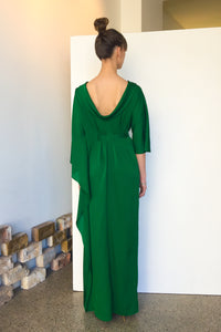 Long Waterfall Maxi Silk Dress Emerald | CARL KAPP