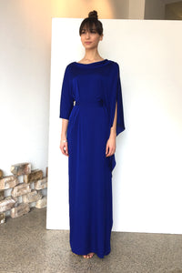 Long Waterfall Maxi Silk Dress Electric Blue | CARL KAPP