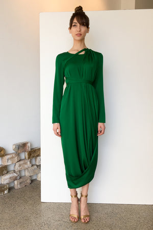 Topaz Silk Dress Emerald | CARL KAPP