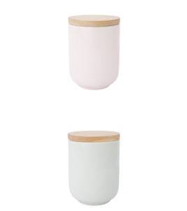 Pastels and wood. The perfect for sugars and tea and more.   Willow Cannisters available from Freedom Furniture.