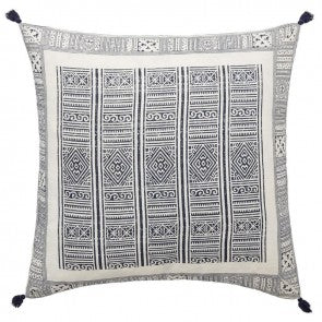 LM Folk White and Indigo Cushion