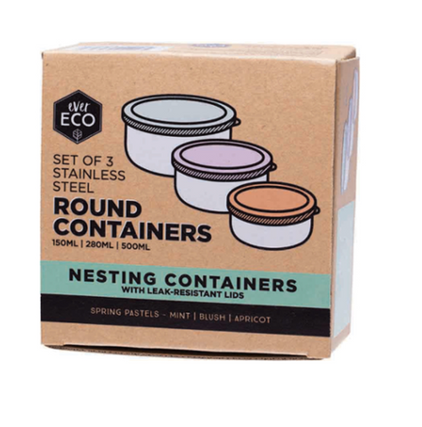 Ever Eco Round Nesting Containers Pastel 3 Piece Set