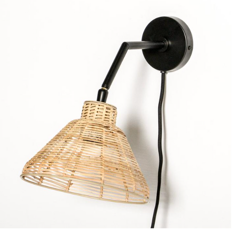 Indigo Loves Lagoon Rattan Wall Lamp - Black