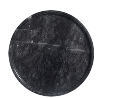 Black Round Marble Tray