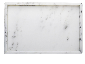 White Rectangle Marble Tray