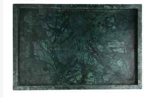 Green Rectangle Marble Tray