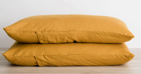 Cultiver Set of 2 Linen Pillowcases - Mustard
