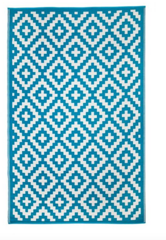 Aztec Teal and White Rug