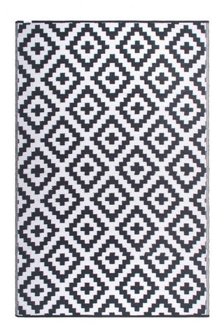 Aztec Grey and White Rug