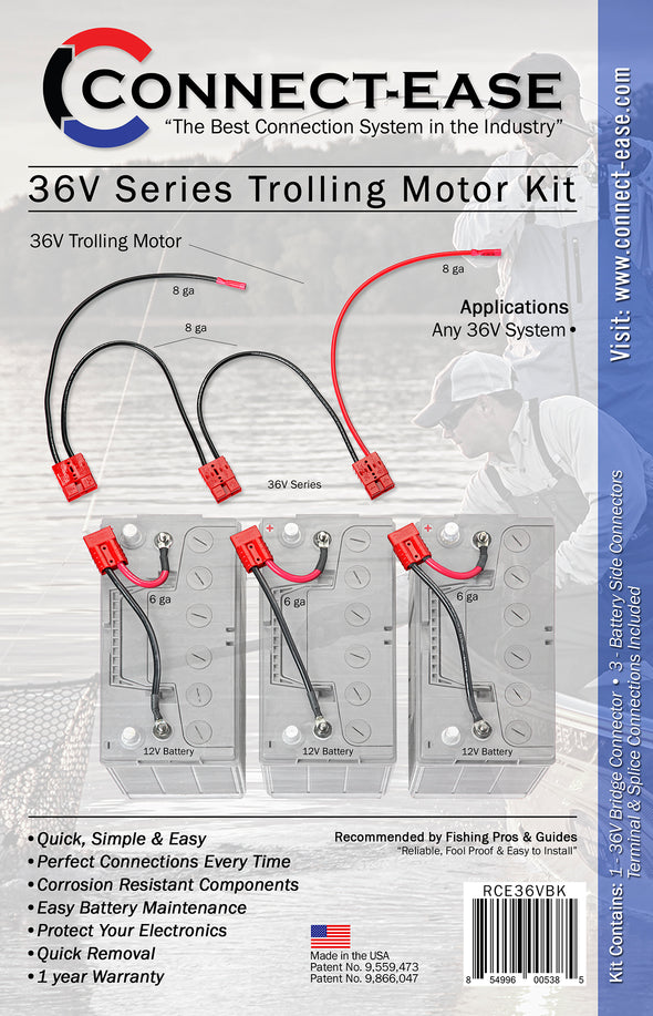 36 Volt Series Trolling Motor Connection Kit (RCE36VBK) - Connect-Ease. Connect all your marine equipment with ease.