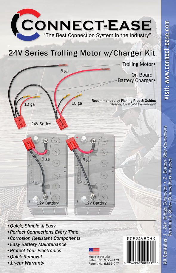 24 Volt Series Trolling Motor Connection Kit with On-Board Charging (RCE24VBCHK) - Connect-Ease. Connect all your marine equipment with ease.