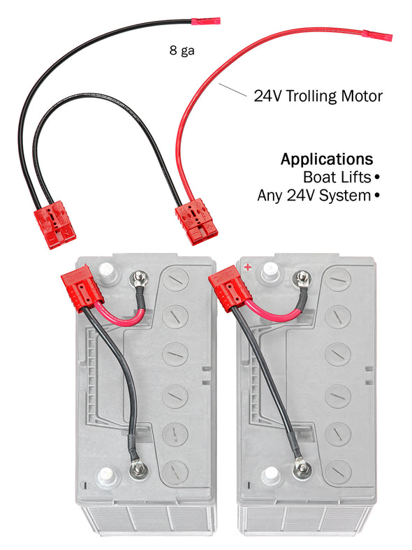 24 Volt Trolling Motor Connection Kit (with out On-Board Charging) (RCE24VBK) - Connect-Ease. Connect all your marine equipment with ease.