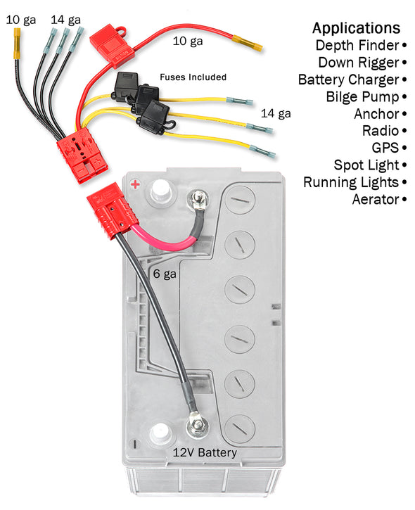 12 Volt Multi (4) Fused Connection Kit Fuses Included (RCE12VB4FK) - Connect-Ease. Connect all your marine equipment with ease.
