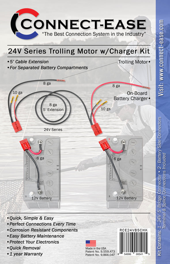24 Volt Trolling Motor Connection w/on-board Charging & 5' Extension for Separated Battery Compartments (RCE24VB5CHK)