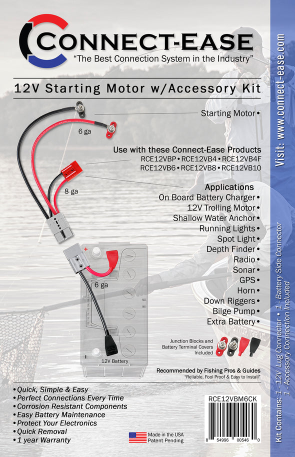 12 Volt Starting Motor w/Accessory Complete Kit - RCE12VBM6CK - Connect-Ease. Connect all your marine equipment with ease.