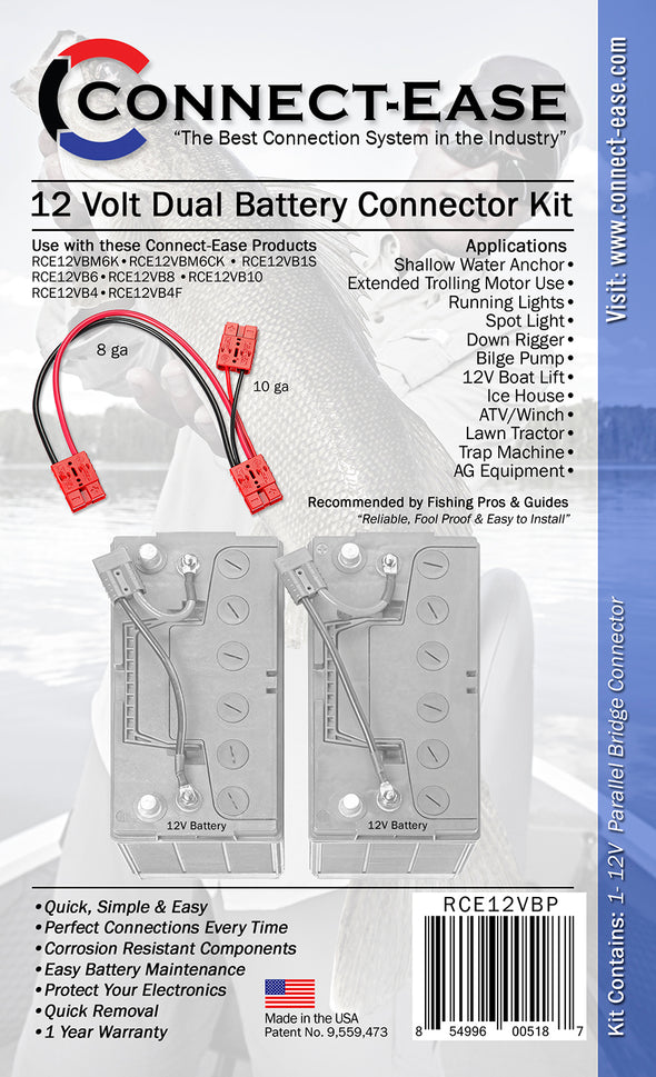 12 Volt Parallel Battery Connector (RCE12VBP) - Connect-Ease. Connect all your marine equipment with ease.