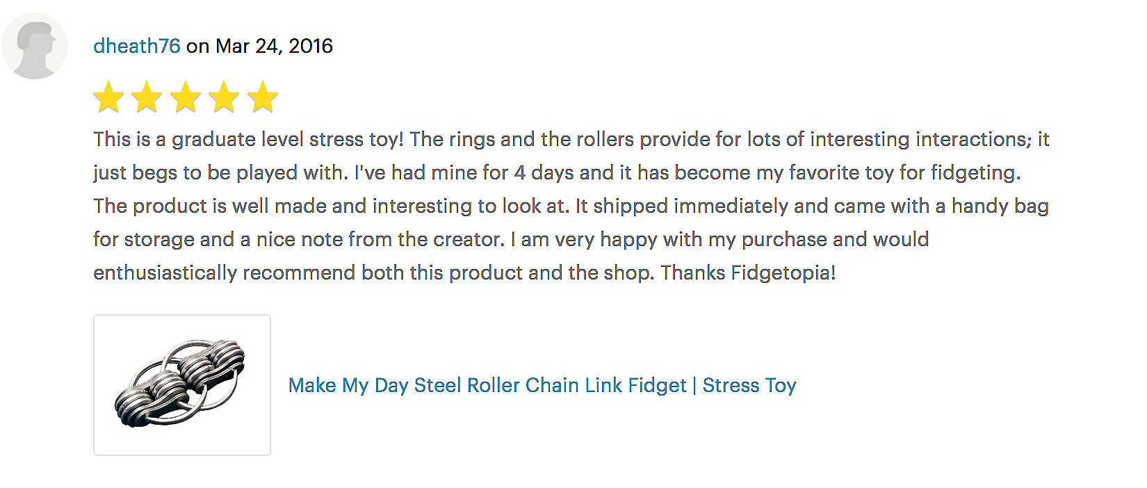 MAKE MY DAY STEEL ROLLER CHAIN LINK FIDGET | STRESS TOY