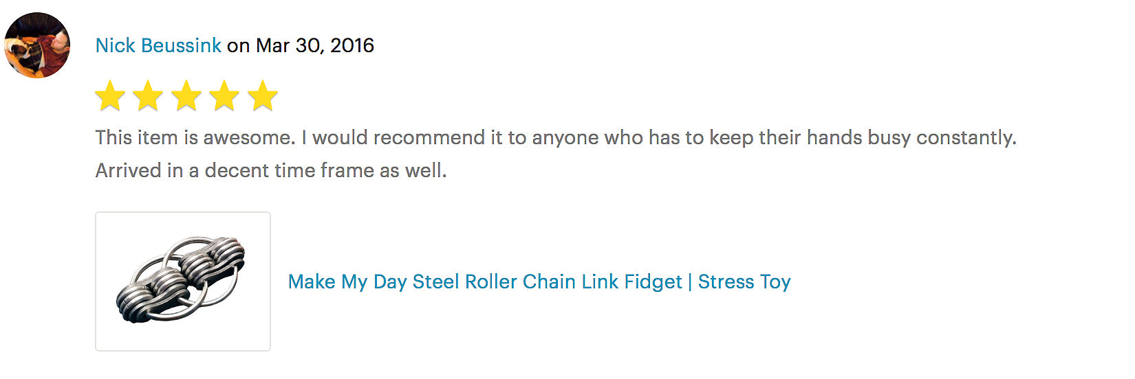 MAKE MY DAY STEEL ROLLER CHAIN LINK FIDGET | STRESS TOY product review