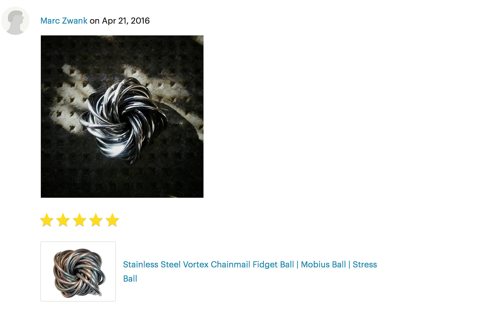 Stainless Steel Vortex Chainmail Fidget Ball | Mobius Ball | Stress Ball product review