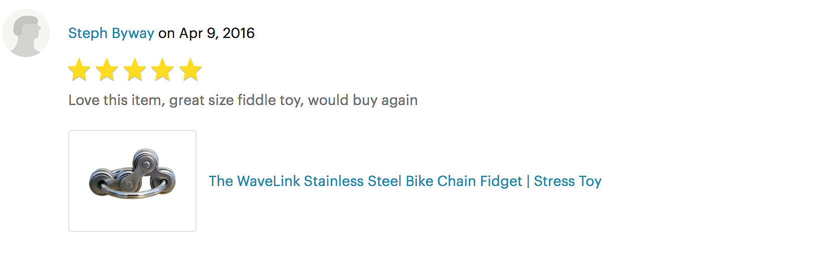 WaveLink Stainless Steel Bike Chain Fidget | Stress Toy product review