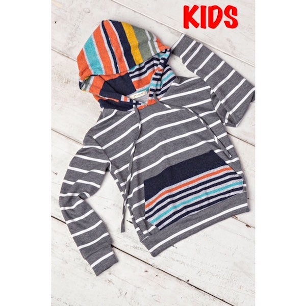 Little Girls Striped Hooded Pullover Sweatshirt with Pockets
