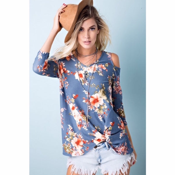 Floral Cold Shoulder Knot Top
