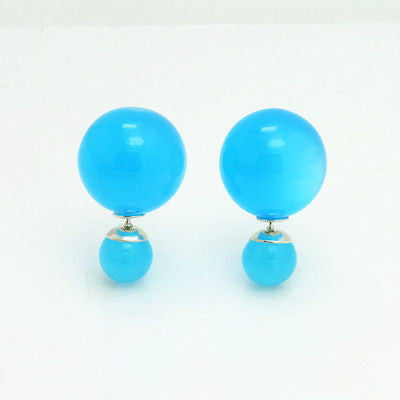 16mm Double Sided Stud Earrings in Translucent Blue
