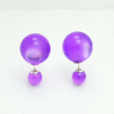 16mm Double Sided Stud Earrings in Translucent Purple