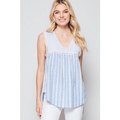 Striped Sleeveless Top with Crochet Trim