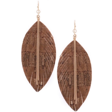 Fringed Leather Earring with Gold Chain Brown