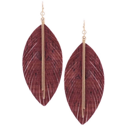 Fringed Leather Earring with Gold Chain Burgundy