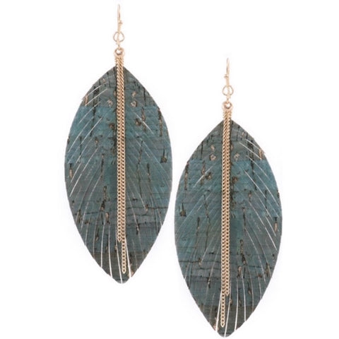 Fringed Leather Earring with Gold Chain Teal