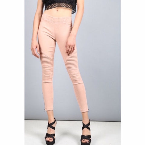 Moto Jeggings with Ankle Zip Dusty Pink