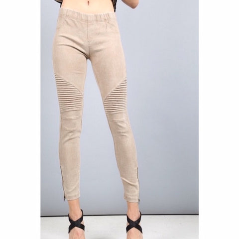 Moto Jeggings with Ankle Zip Khaki