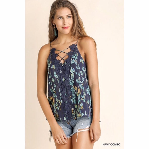 Cami with Criss Cross Crochet Accent