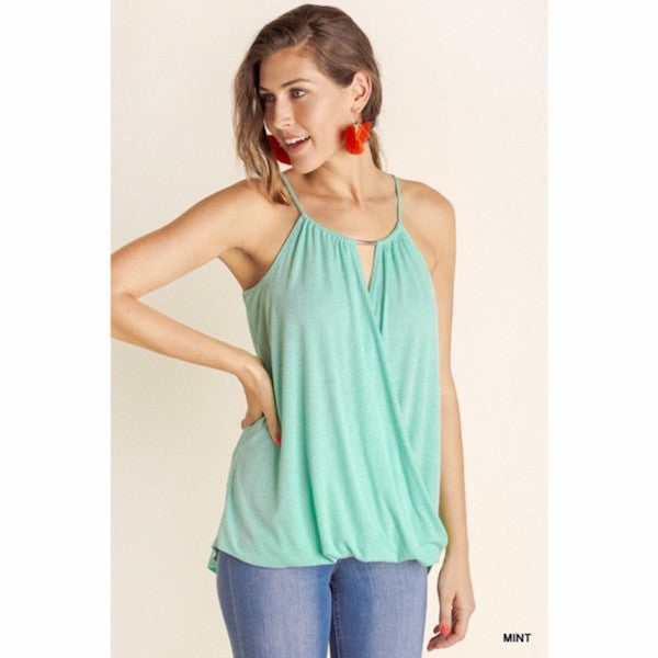 Sleeveless Surplice Top with Silver Metal Detail