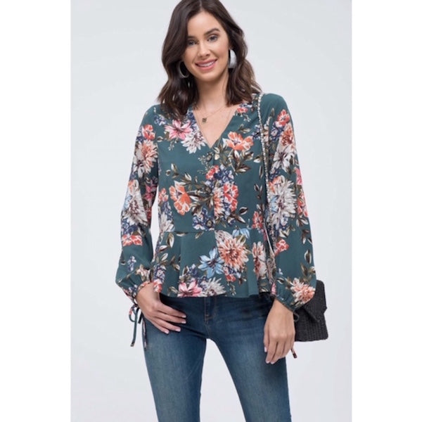 fbf202d2db306 Floral Button Down Blouse with Tie Sleeves – Chicks Picks Boutique