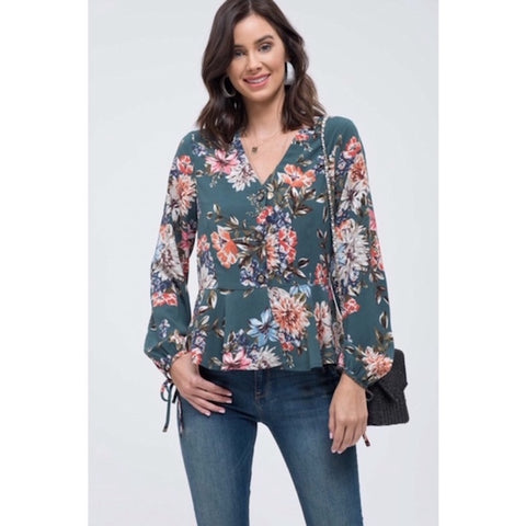 Floral Button Down Blouse with Tie Sleeves